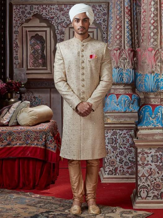 Cream Silk Designer Indian Groom Sherwani