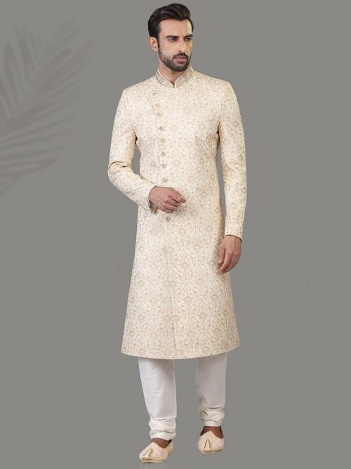 Cream Silk Wear Sherwani For Wedding