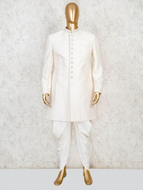 Cream Terry Rayon Wedding  Wear Indo Western