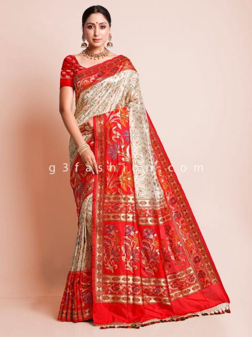 Cream Wedding Saree Design In Banarasi Silk