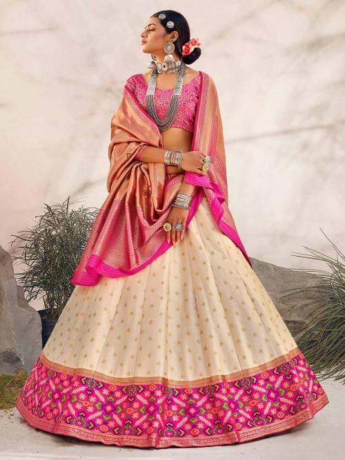 Cream Zari Inflated Silk Unstitched Lehenga For Wedding