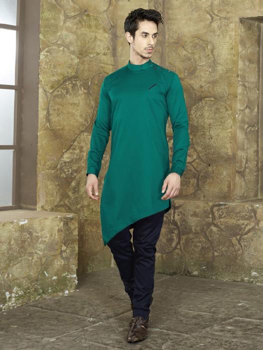 Dark Green Festive Cotton Kurta Suit