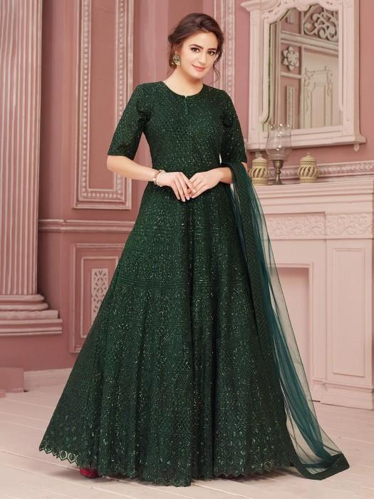 Dark Green Net Anarkali Suit