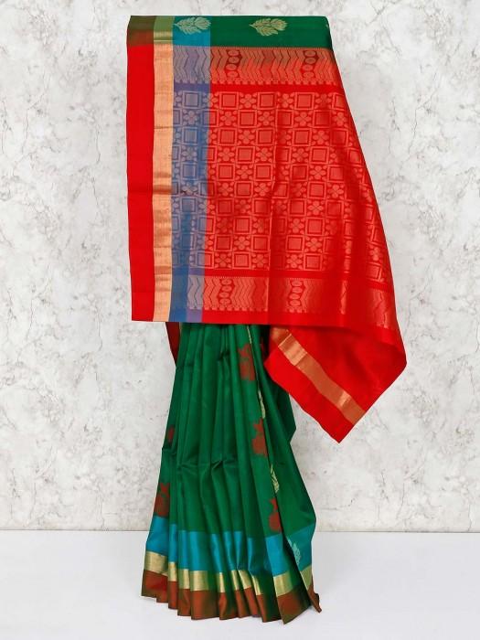 Dark Green Saree In Semi Silk