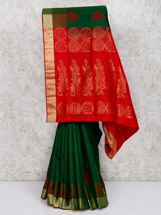 Dark Green South Silk Amazing Saree
