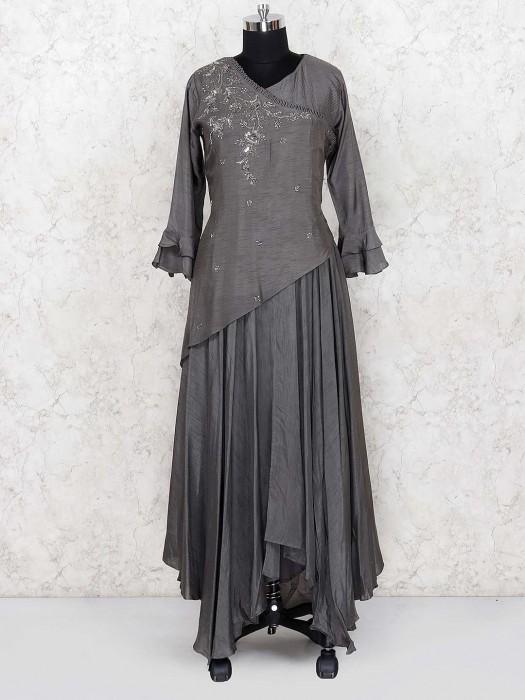 Dark Grey Cotton Silk Designer Salwar Suit