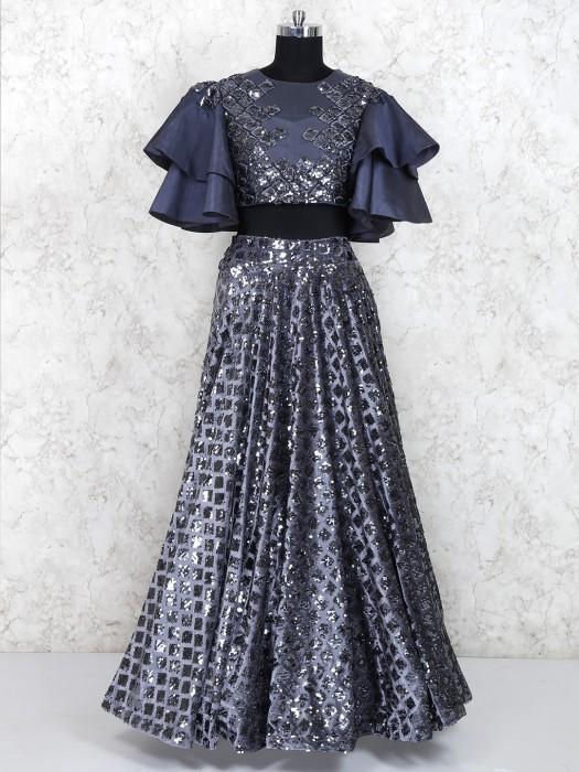Dark Grey Lehenga Choli In Cotton Silk Fabric