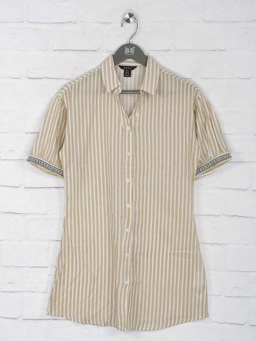 Deal Beige Color Stripe Pattern Top In Cotton