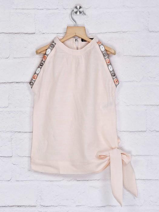 Deal Beige Solid Cotton Top