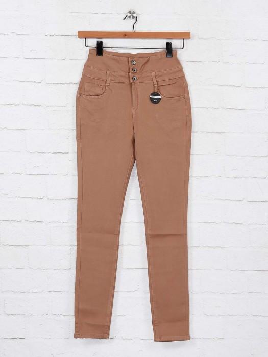 Deal Casual Wear Beige Hue High Waist Jeans