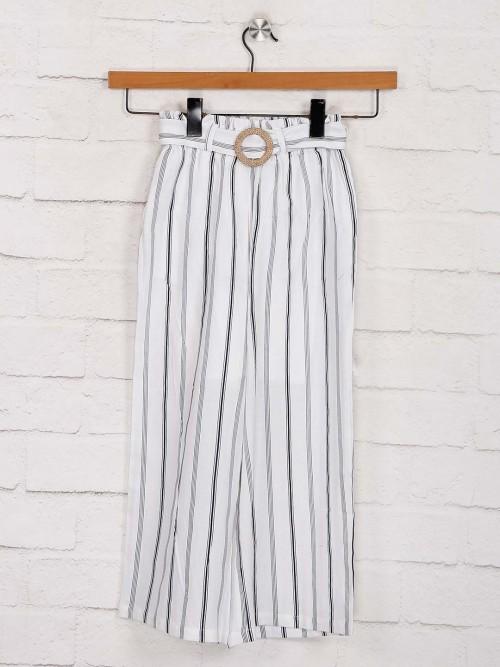 Deal Comfortable Cotton White Stripe Palazzo