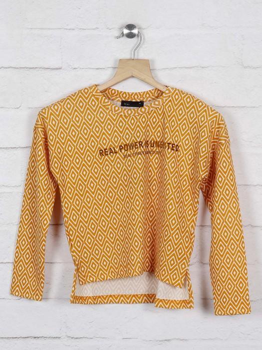 Deal Mustard Yellow Round Neck Cotton Top
