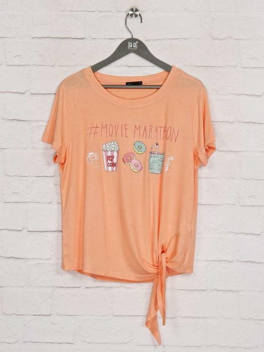 Deal Printed Peach Casual Top
