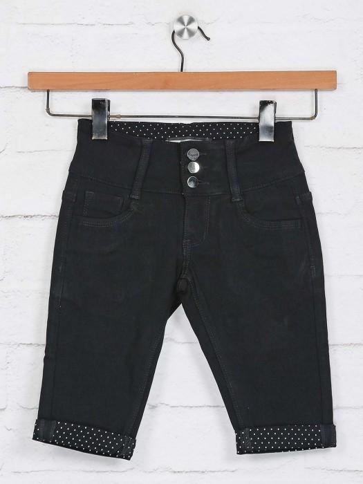 Deal Solid Black Casual Wear Half Pant