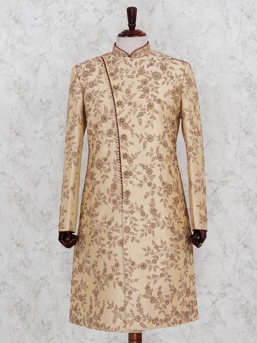 Designer Beige Color Terry Rayon Fabric Sherwani