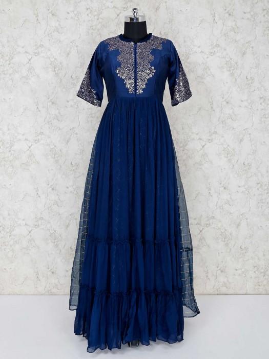 Designer Blue Georgette Anarkali Salwar Kameez
