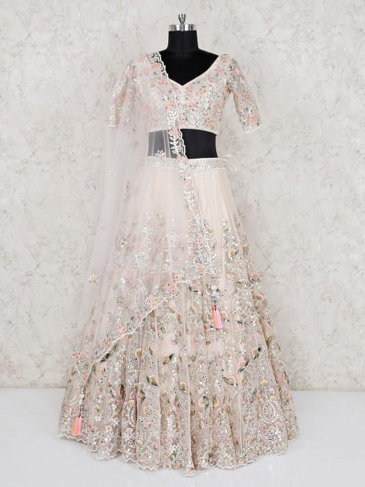 Designer Cream Bridal Wear Net Lehenga Choli