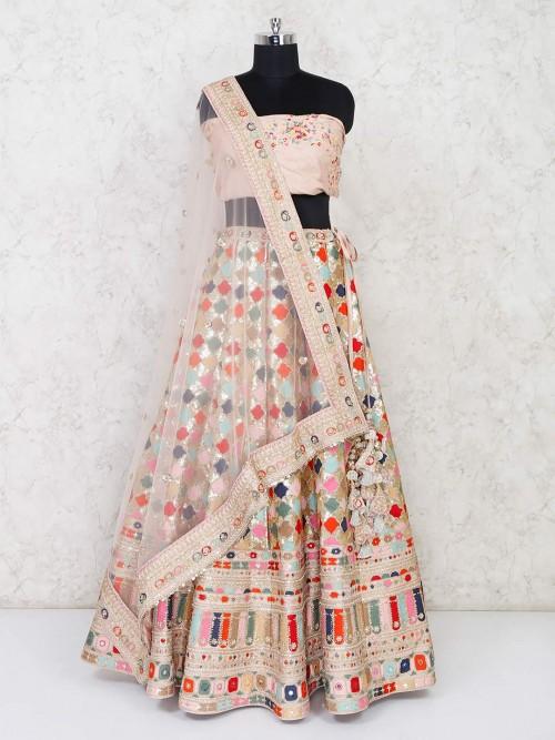 Designer Cream Semi Stitched Lehenga For Wedding Occassion