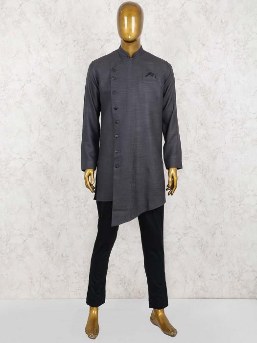 Designer Dark Grey Solid Cotton Kurta Suit