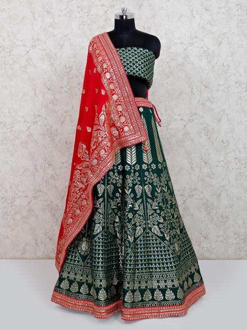 Designer Green Wedding Wear Banarasi Silk Lehenga Choli