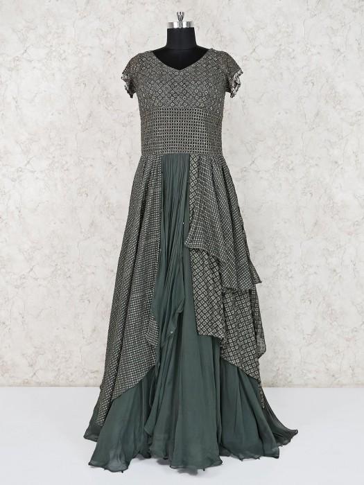 Designer Grey Georgette Party Wear Anarkali Suit
