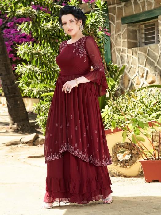 Designer Marron Georgette Saharar Suit
