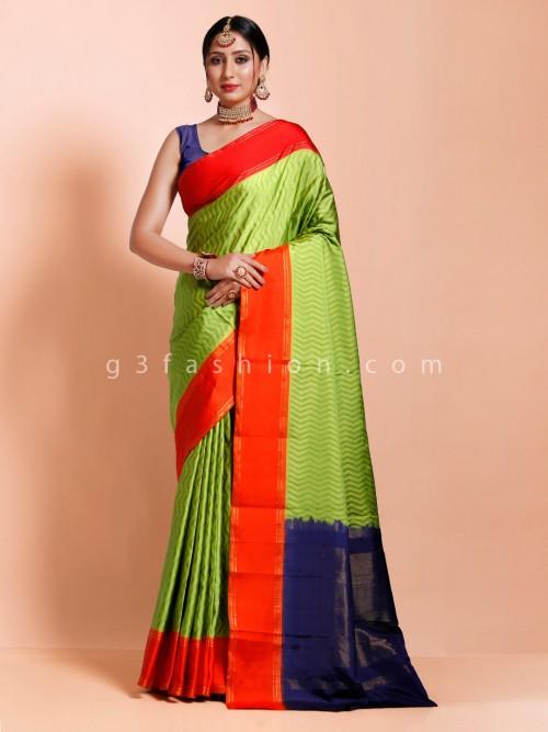 Designer Parrot Green Pure Twill Silk Saree