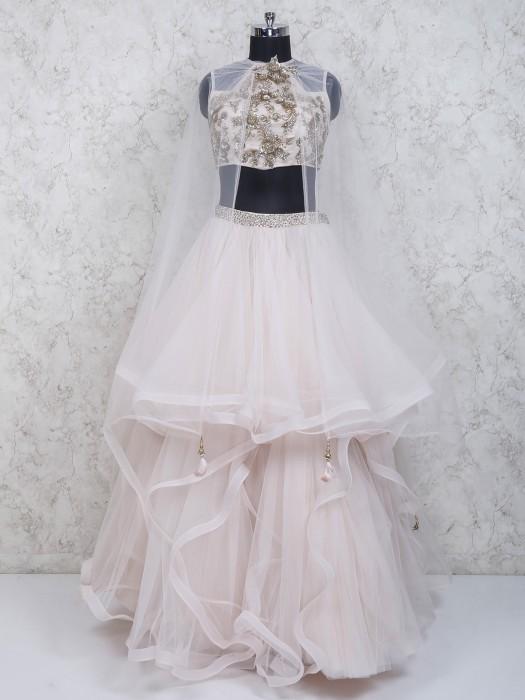 Designer Peach Color Ruffle Style Net Lehenga Choli