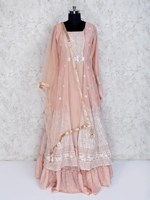 Designer Peach Cotton Silk Wedding Anarkali Suit