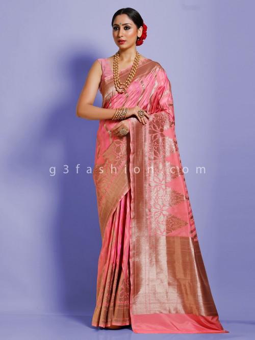 Designer Pink Banarasi Silk Wedding Saree
