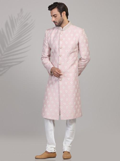 Designer Pink Silk Sherwani For Wedding