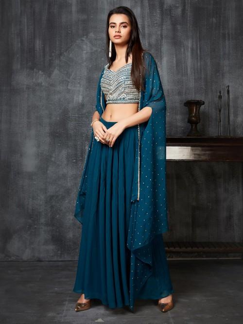 Designer Rama Green Georgette Indowestern Dress For Party