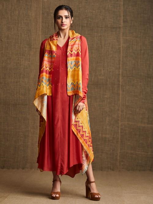 Designer Rust Orange Kurti With Printed Jacket
