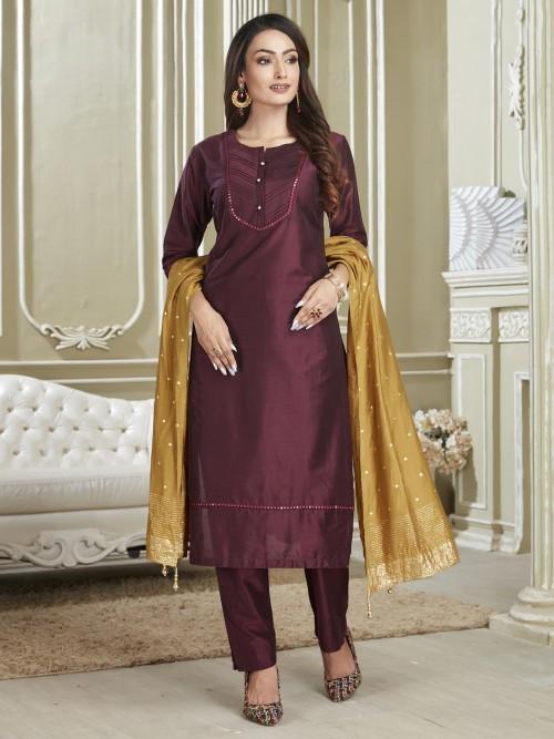 Designer Solid Maroon Cotton Punjabi Salwar Suit For Festival