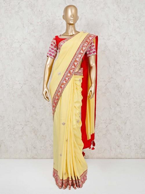 Designer Yellow Satin Silk Readymade Blouse Saree