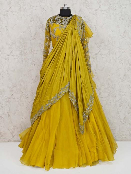 Designer Yellow Tissue Silk Lehenga Choli