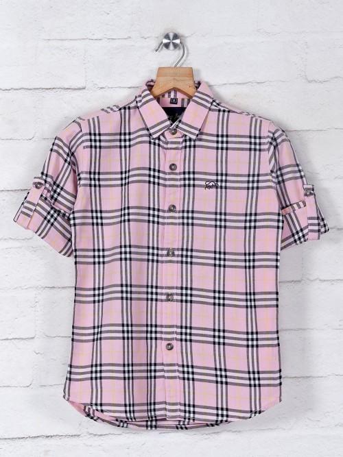 DNJS Pink Checks Casual Wear Shirt