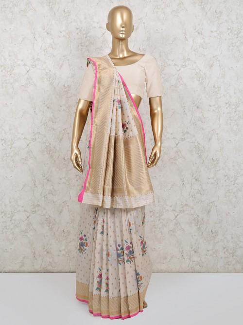 Dola Silk Cream Wedding Wear Saree
