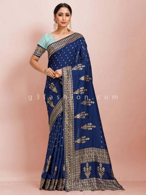 Dola Silk Festive Wear Navy Blue Zari Butti Weaving Saree
