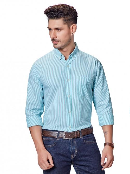 Dragon Hill Aqua Stripe Casual Shirt