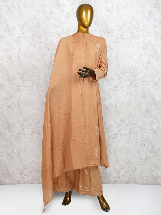 Dusty Pink Festive Cotton Punjabi Palazzo Suit