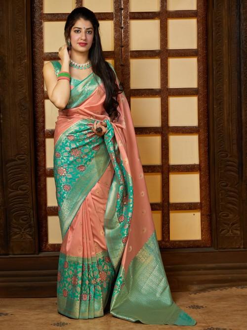 Dusty Pink Wedding Saree In Banarasi Silk