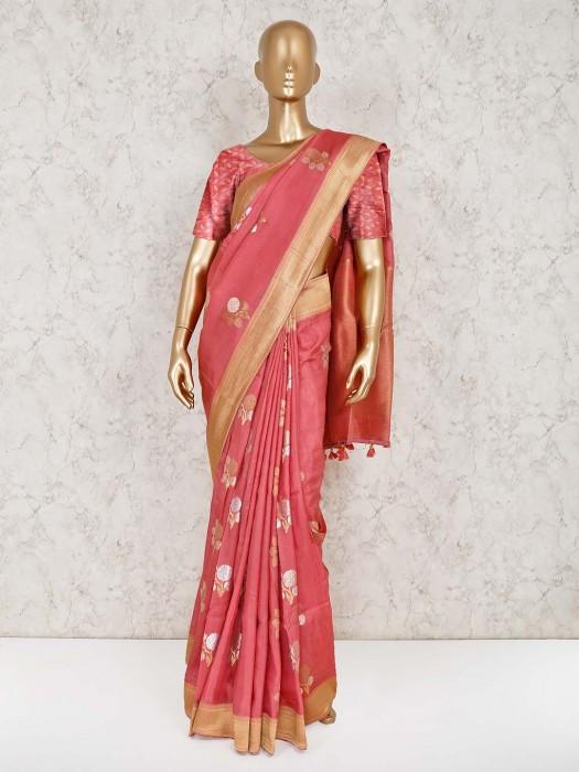 Dusty Pink Wedding Semi Silk Saree