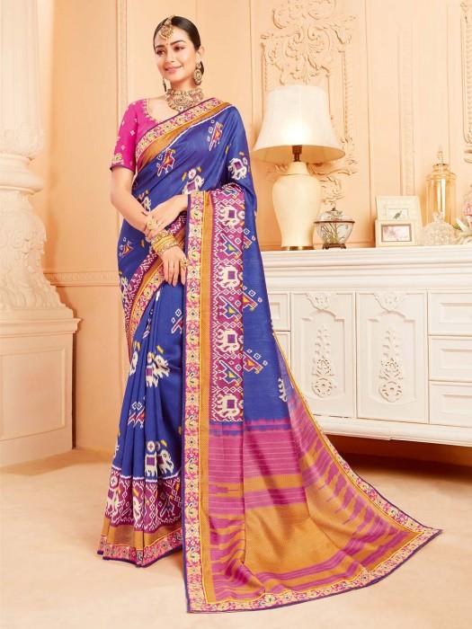Elegant Blue Saree In Raw Silk Fabric
