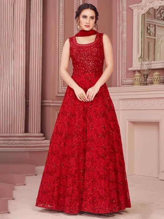 Embroidered Anarkali Salwar Suit In Red