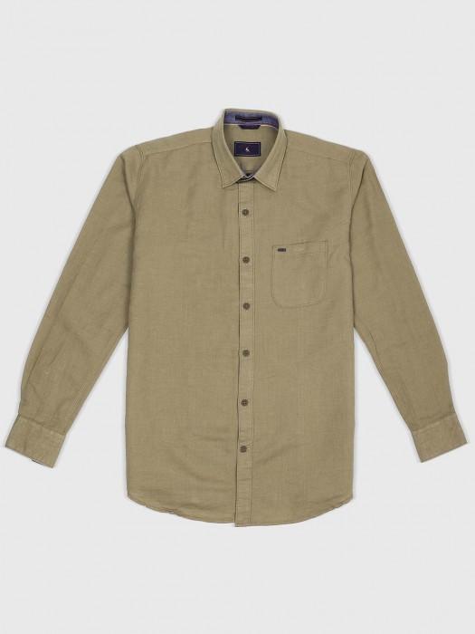 EQIQ Beige Hue Solid Casual Shirt