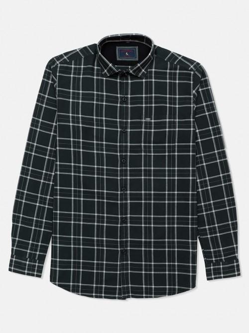 Eqiq Checks Green Cotton Shirt For Mens
