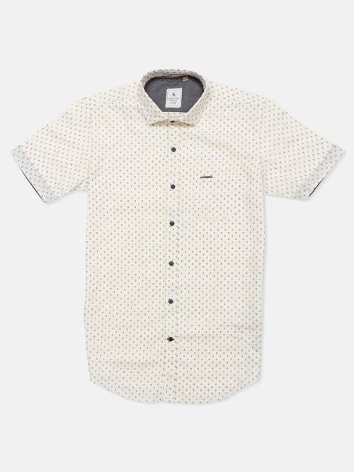 Eqiq Cream Printed Half Sleeve Shirt For Mens