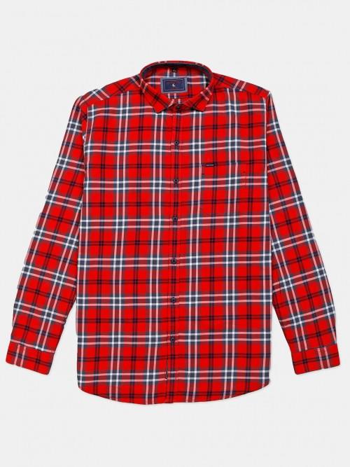 Eqiq Red Checks Cotton Shirt For Mens