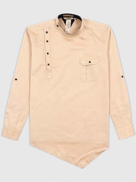 EQIQ Solid Beige Hue Asymmetric Pattern Shirt